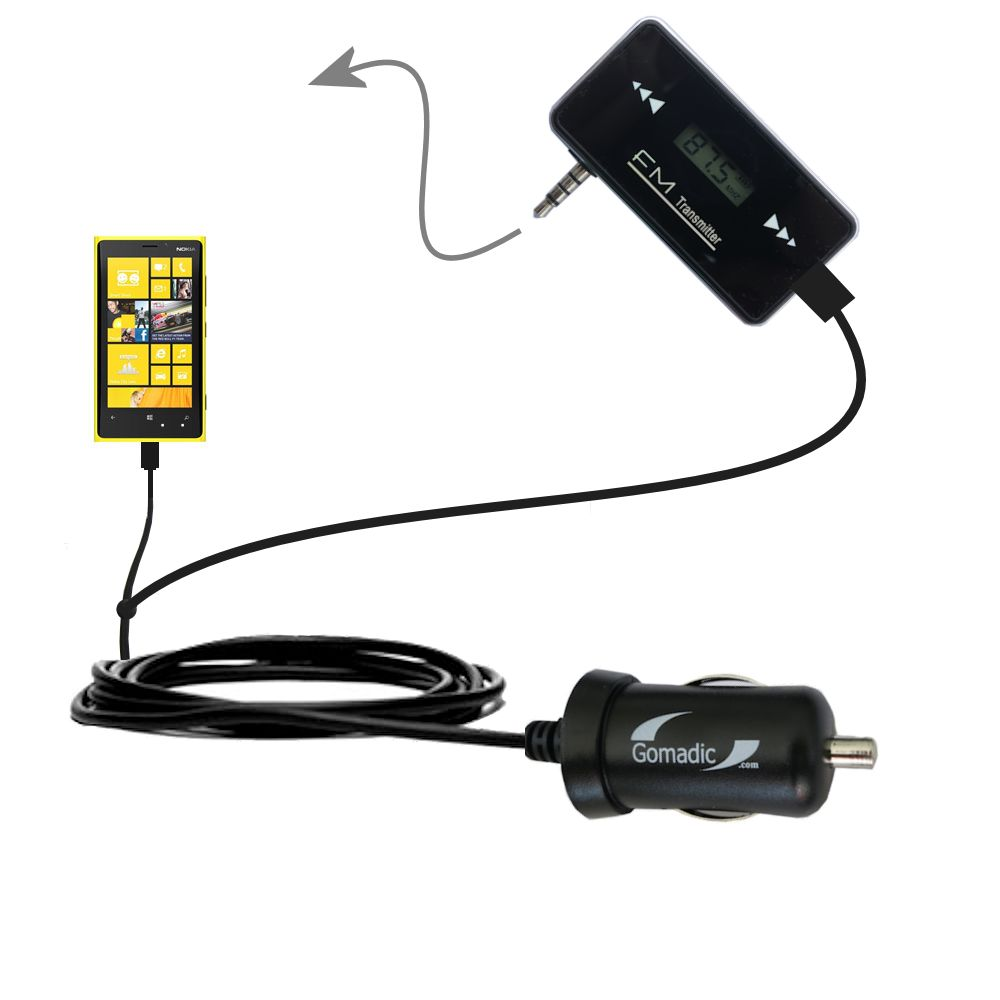 FM Transmitter Plus Car Charger compatible with the Nokia Lumia 920