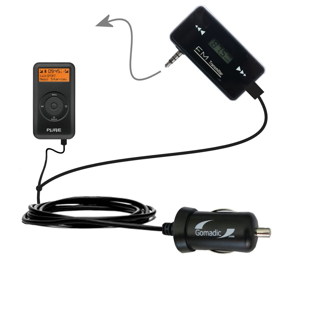 FM Transmitter Plus Car Charger compatible with the PURE Move 2500