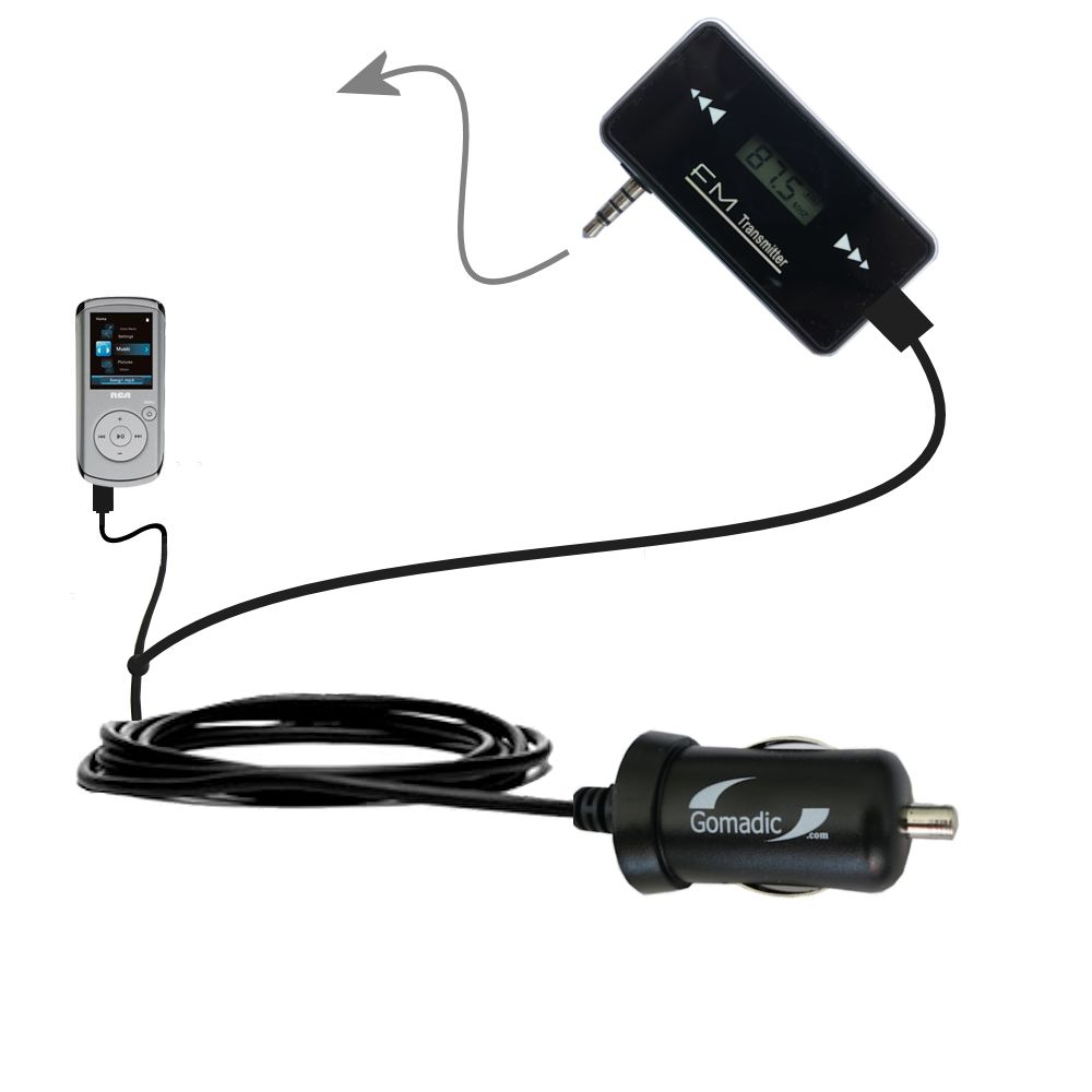 FM Transmitter Plus Car Charger compatible with the RCA M4102 Opal Digital Media Player