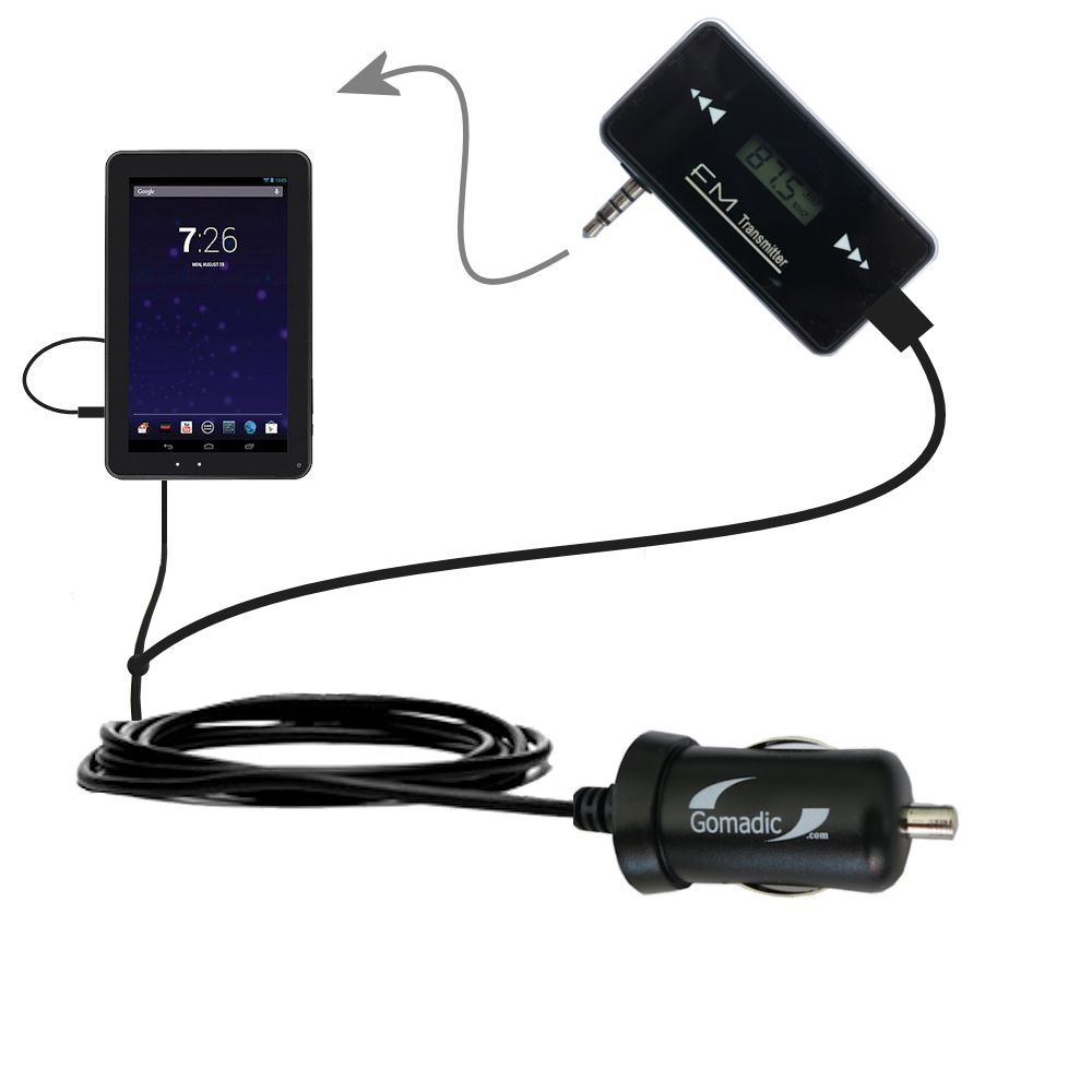 FM Transmitter Plus Car Charger compatible with the RCA RCT6691W3