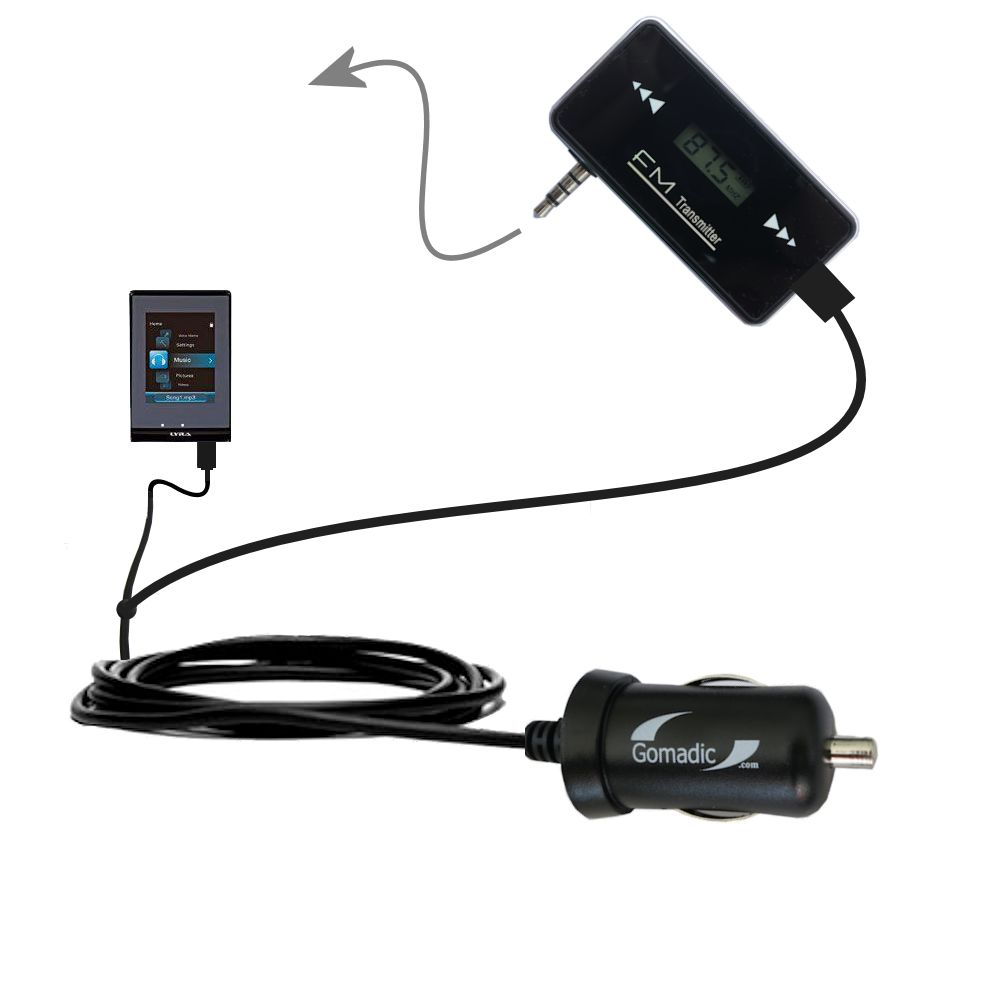 FM Transmitter Plus Car Charger compatible with the RCA SLC5016 LYRA Slider Media Player