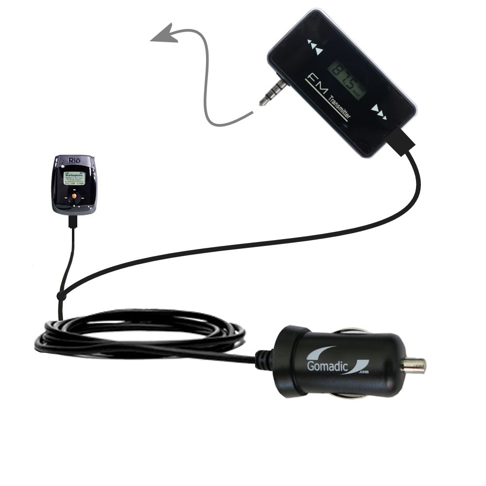 FM Transmitter Plus Car Charger compatible with the Rio Nitrus