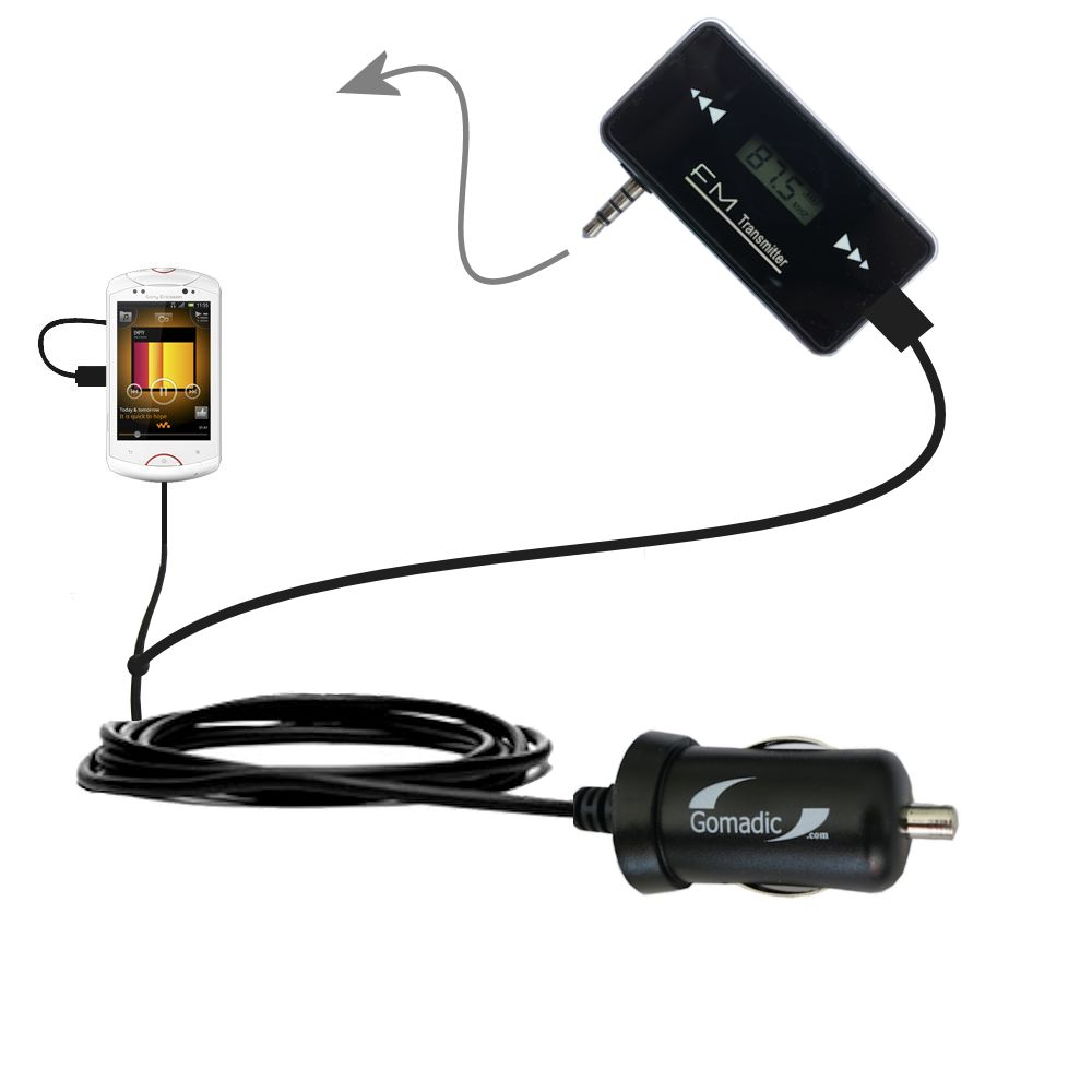3rd generation powerful audio fm transmitter with car charger suitable for the sony ericsson live with walkman uses gomadic tipexchange technology