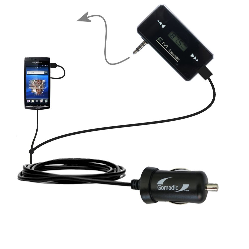 FM Transmitter Plus Car Charger compatible with the Sony Ericsson LT15i