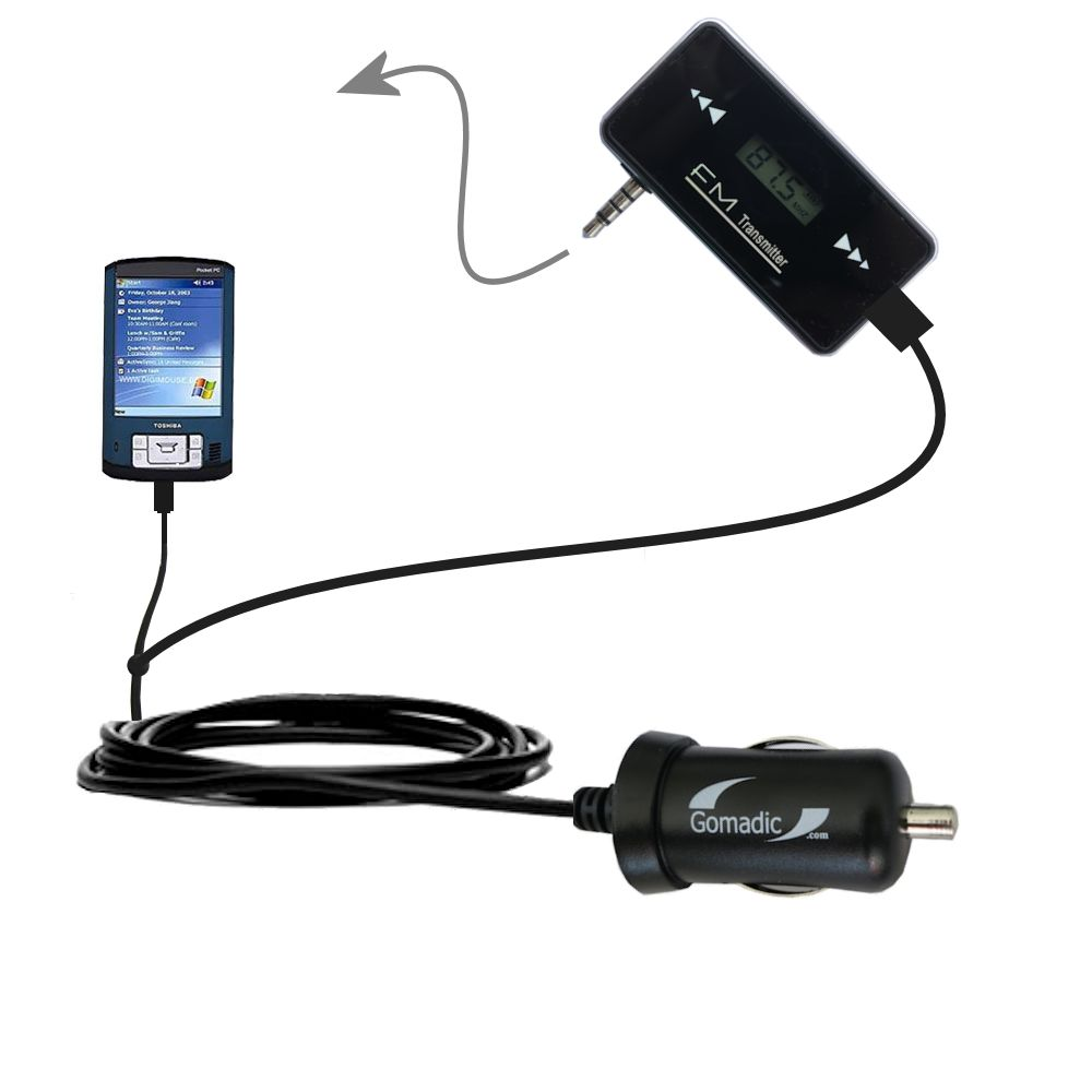 FM Transmitter Plus Car Charger compatible with the Toshiba e805