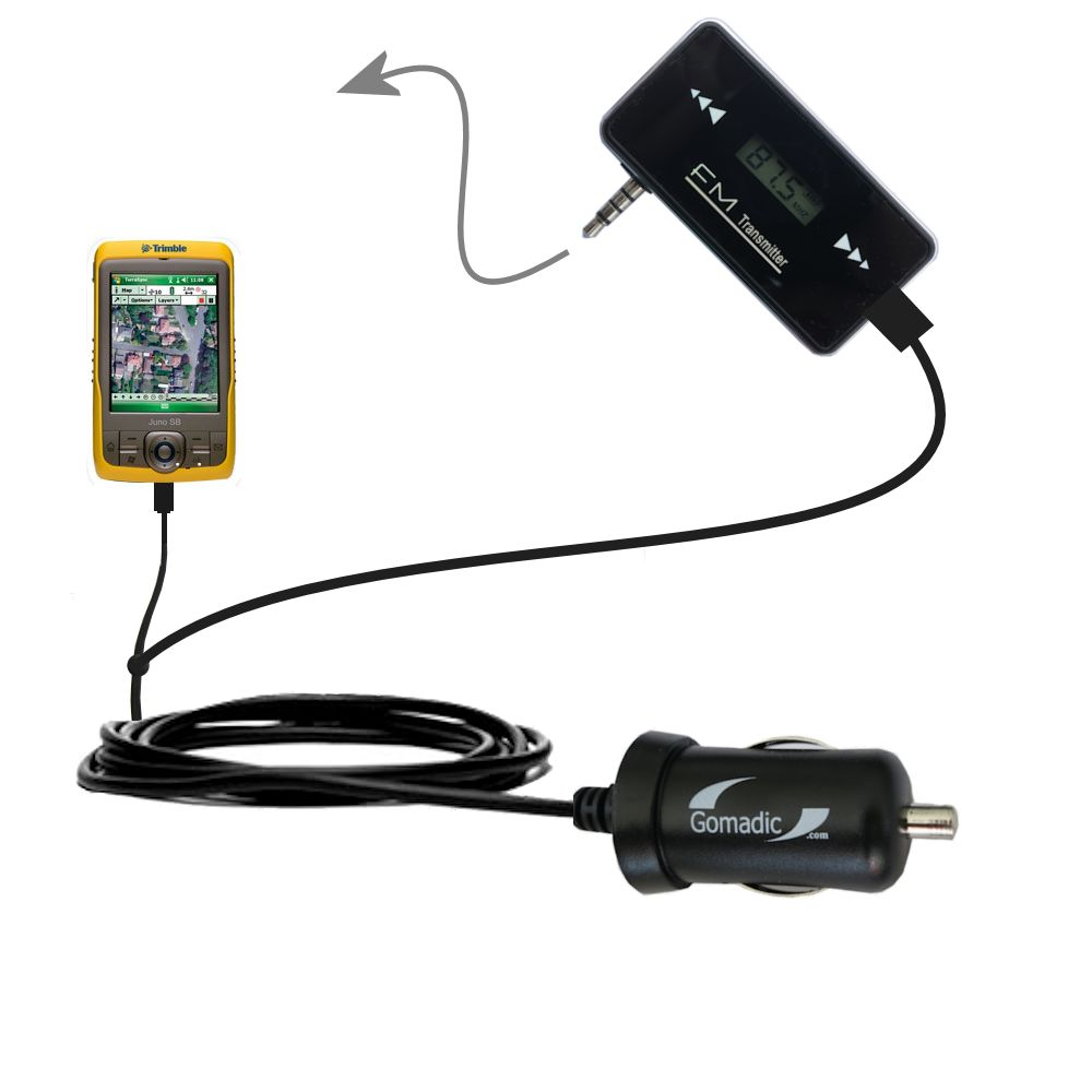 FM Transmitter Plus Car Charger compatible with the Trimble Juno SB