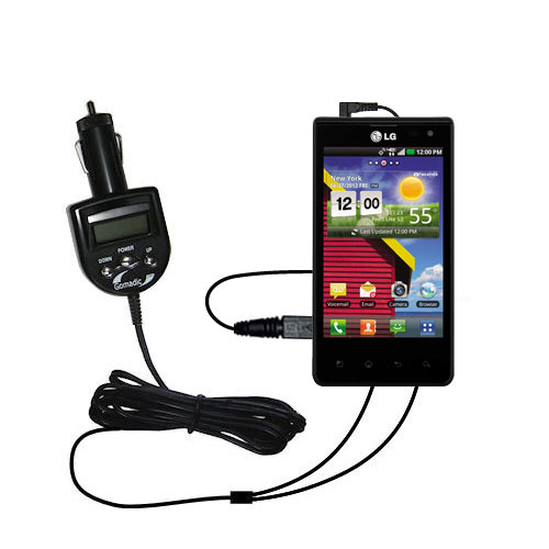 FM Transmitter & Car Charger compatible with the LG Lucid 1 / 2 / 3