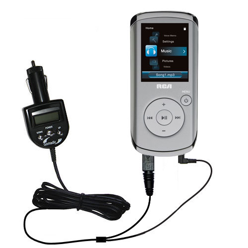 FM Transmitter & Car Charger compatible with the RCA M4104 M4108 Digital Music Player