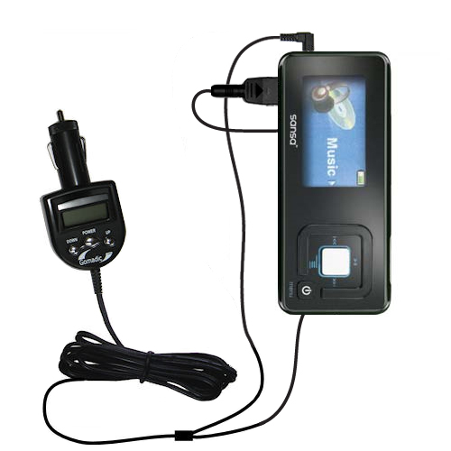 FM Transmitter & Car Charger compatible with the Sandisk Sansa c240