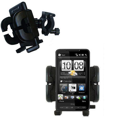 Gomadic Bike Handlebar Holder Mount System suitable for the HTC HD2 - Unique Holder; Lifetime Warranty