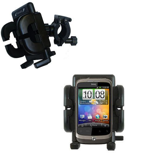 Gomadic Bike Handlebar Holder Mount System suitable for the HTC Wildfire - Unique Holder; Lifetime Warranty