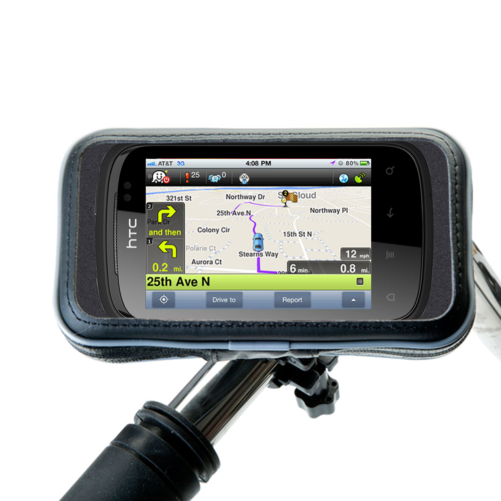 Weatherproof Handlebar Holder compatible with the HTC Explorer