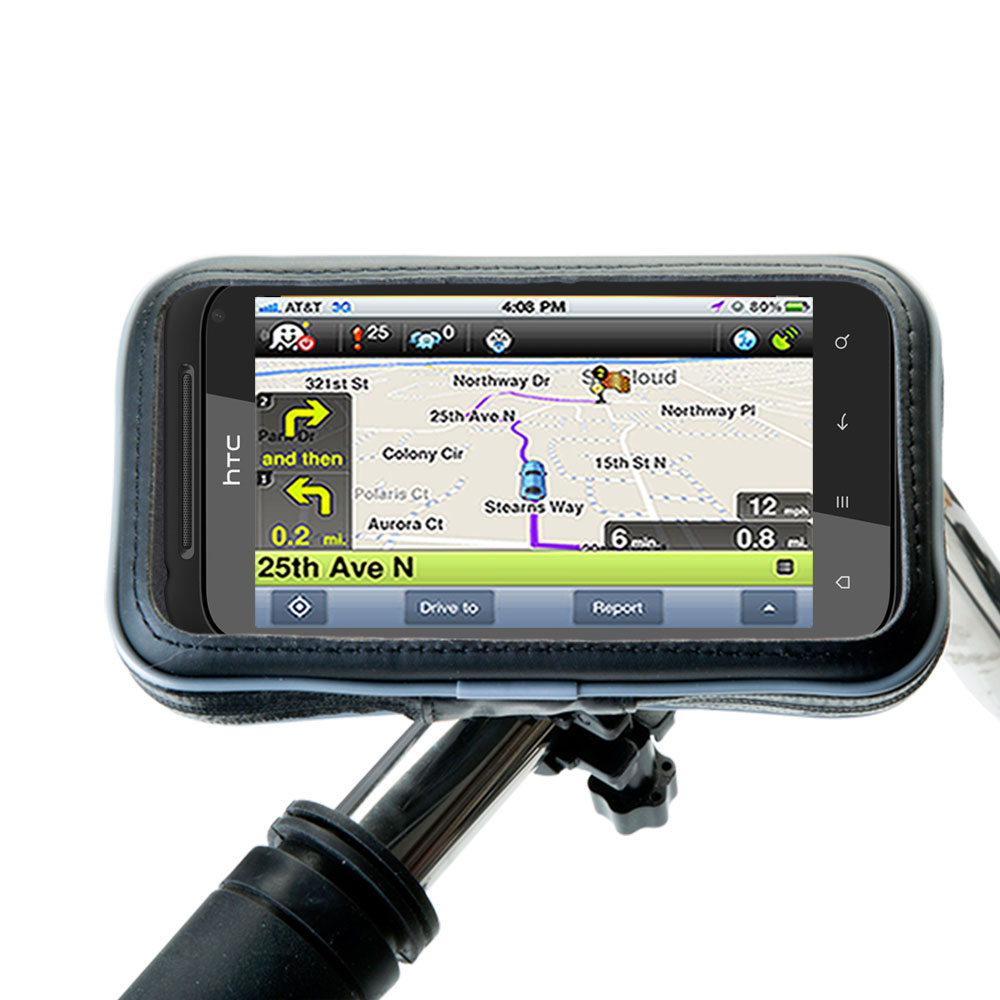 Heavy Duty Weather Resistant Bicycle / Motorcycle Handlebar Mount Holder Designed for the HTC Incredible S