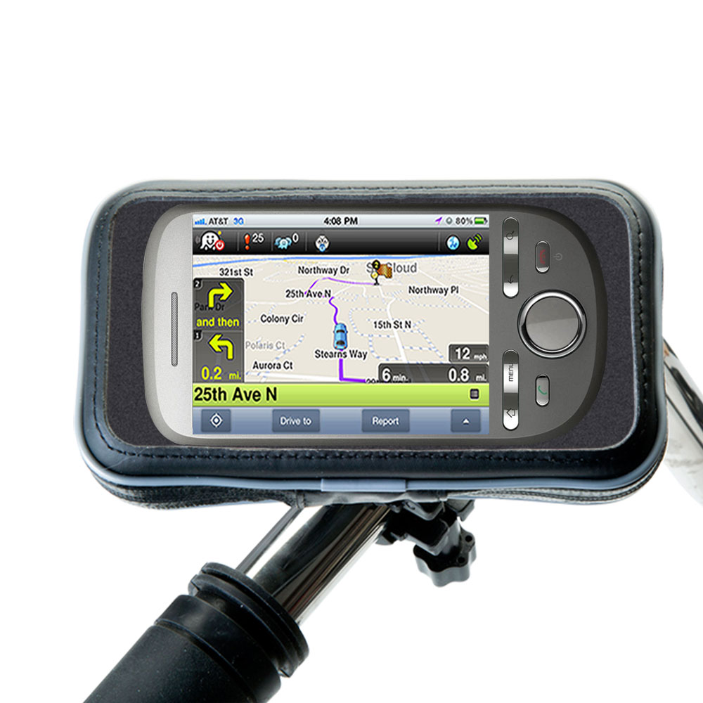 Weatherproof Handlebar Holder compatible with the HTC Tattoo
