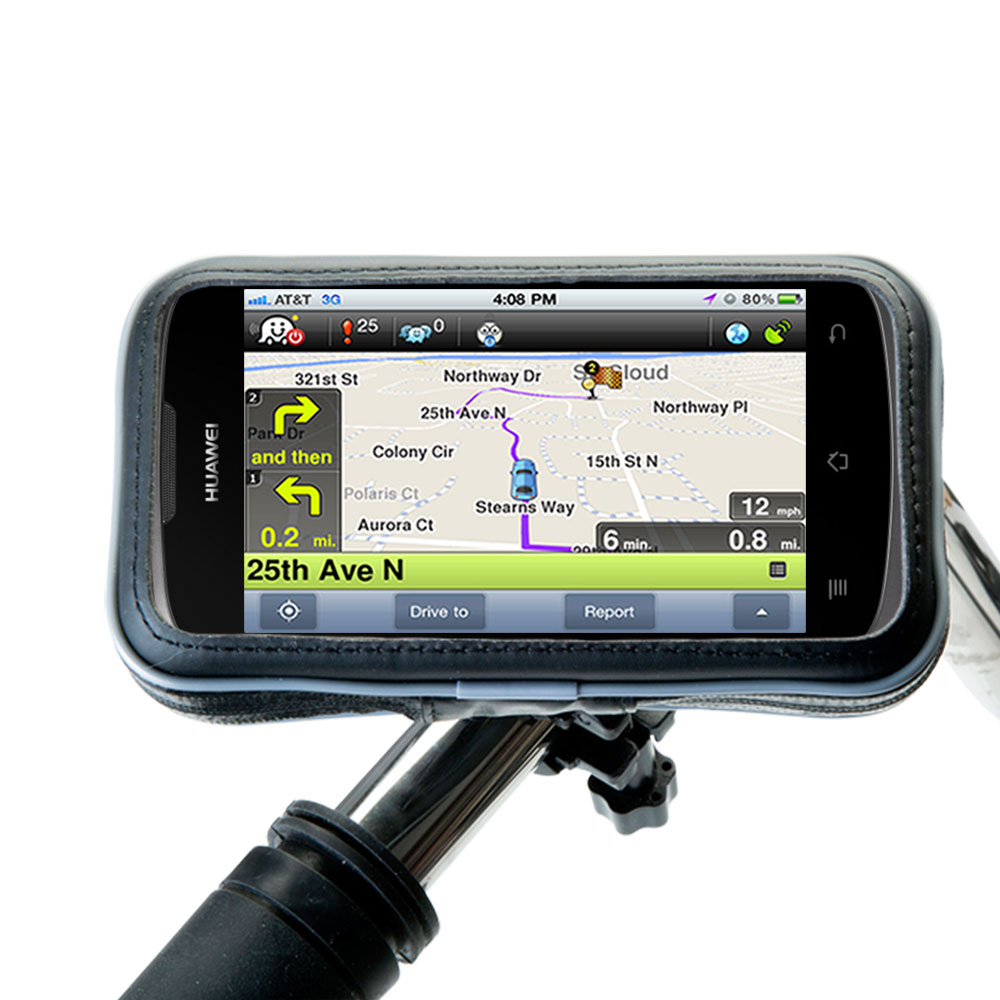 Weatherproof Handlebar Holder compatible with the Huawei U8815