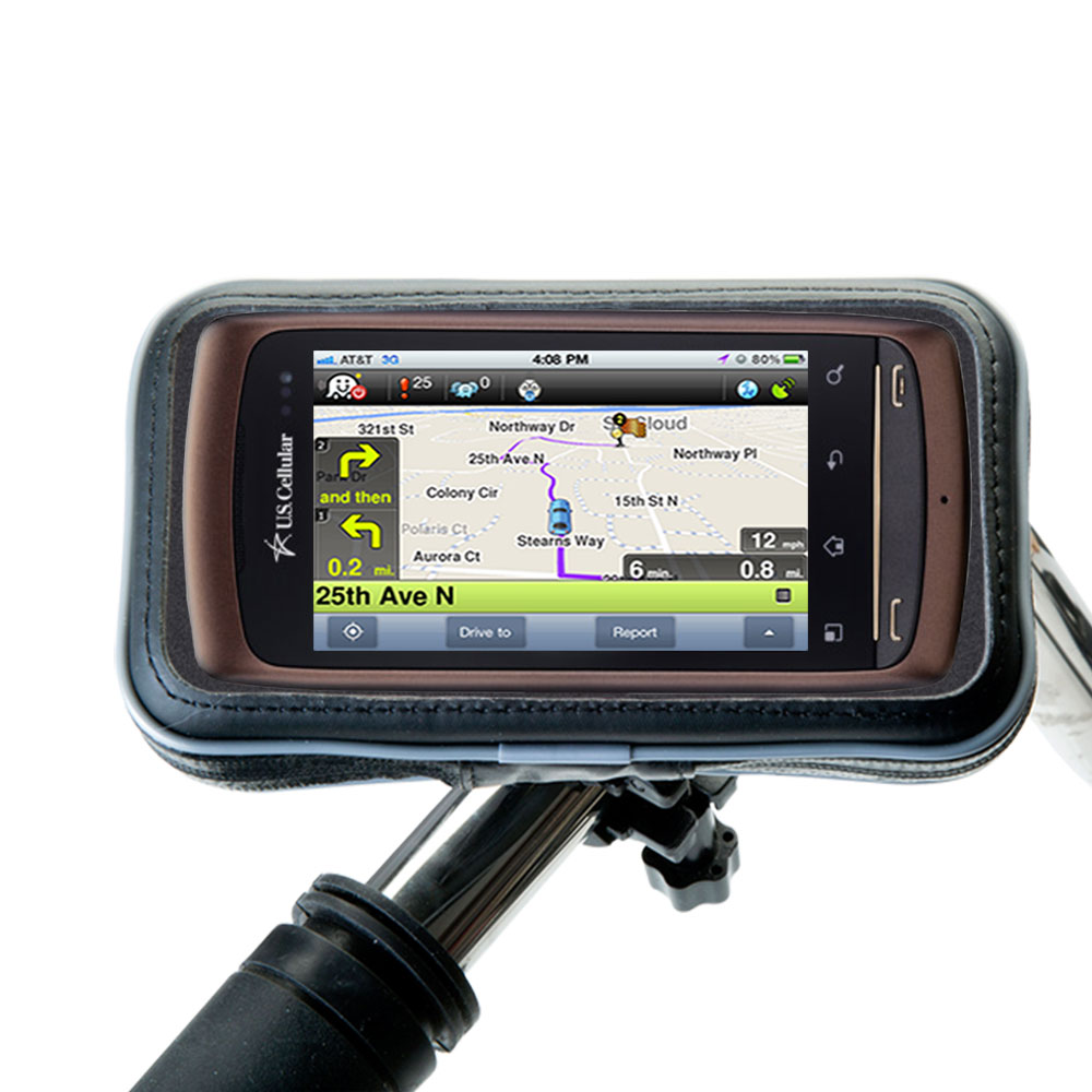 Weatherproof Handlebar Holder compatible with the LG Apex