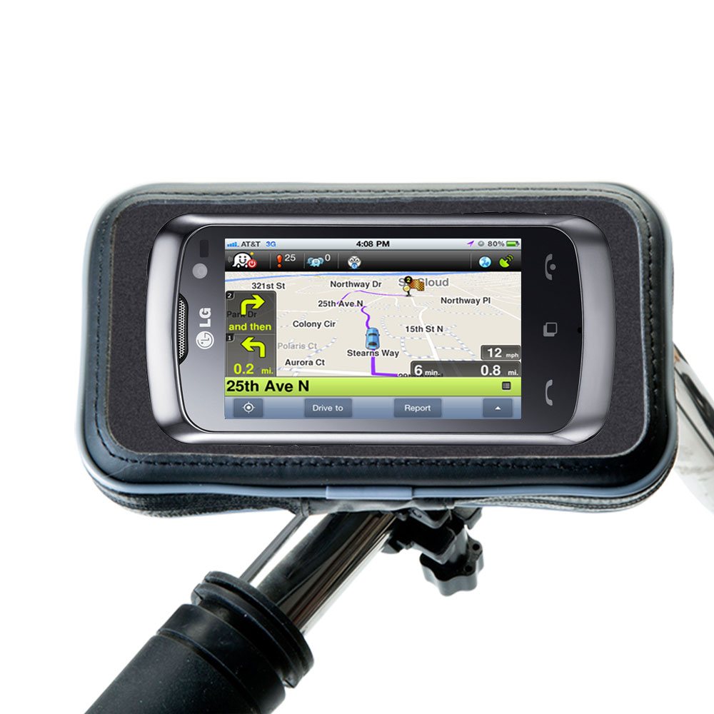 Weatherproof Handlebar Holder compatible with the LG Cookie Music