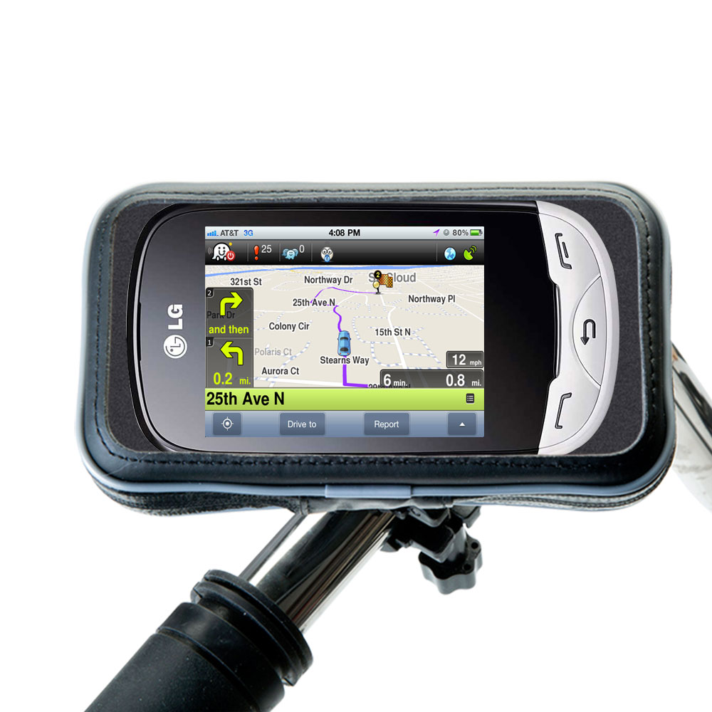 Weatherproof Handlebar Holder compatible with the LG EGO Wi-Fi