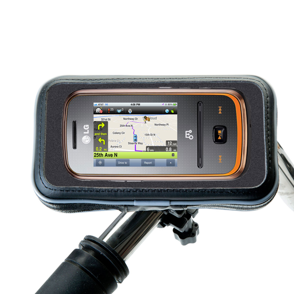 Weatherproof Handlebar Holder compatible with the LG GM310