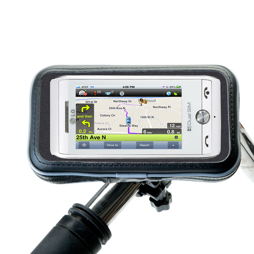 Weatherproof Handlebar Holder compatible with the LG GX500