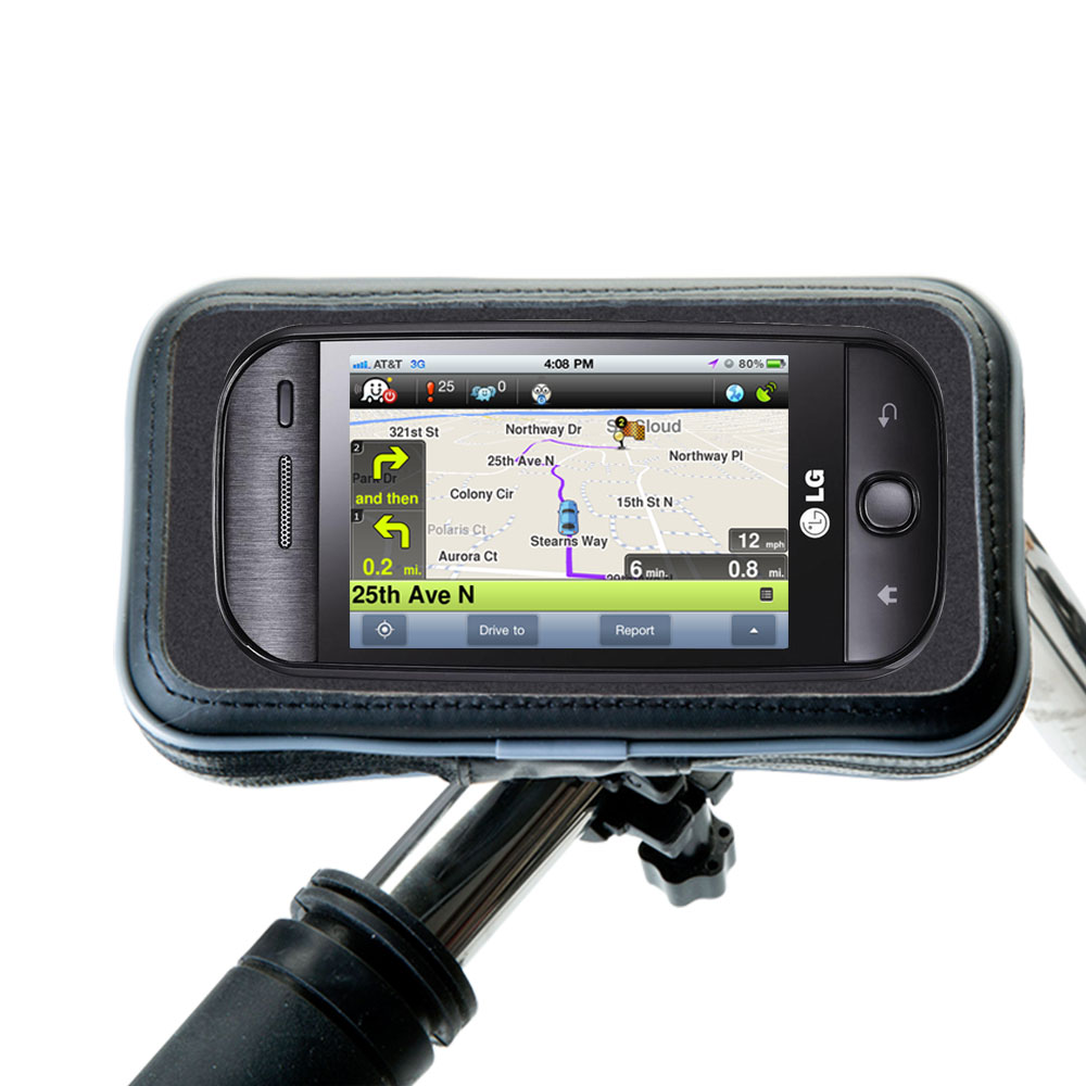 Weatherproof Handlebar Holder compatible with the LG InTouch Max