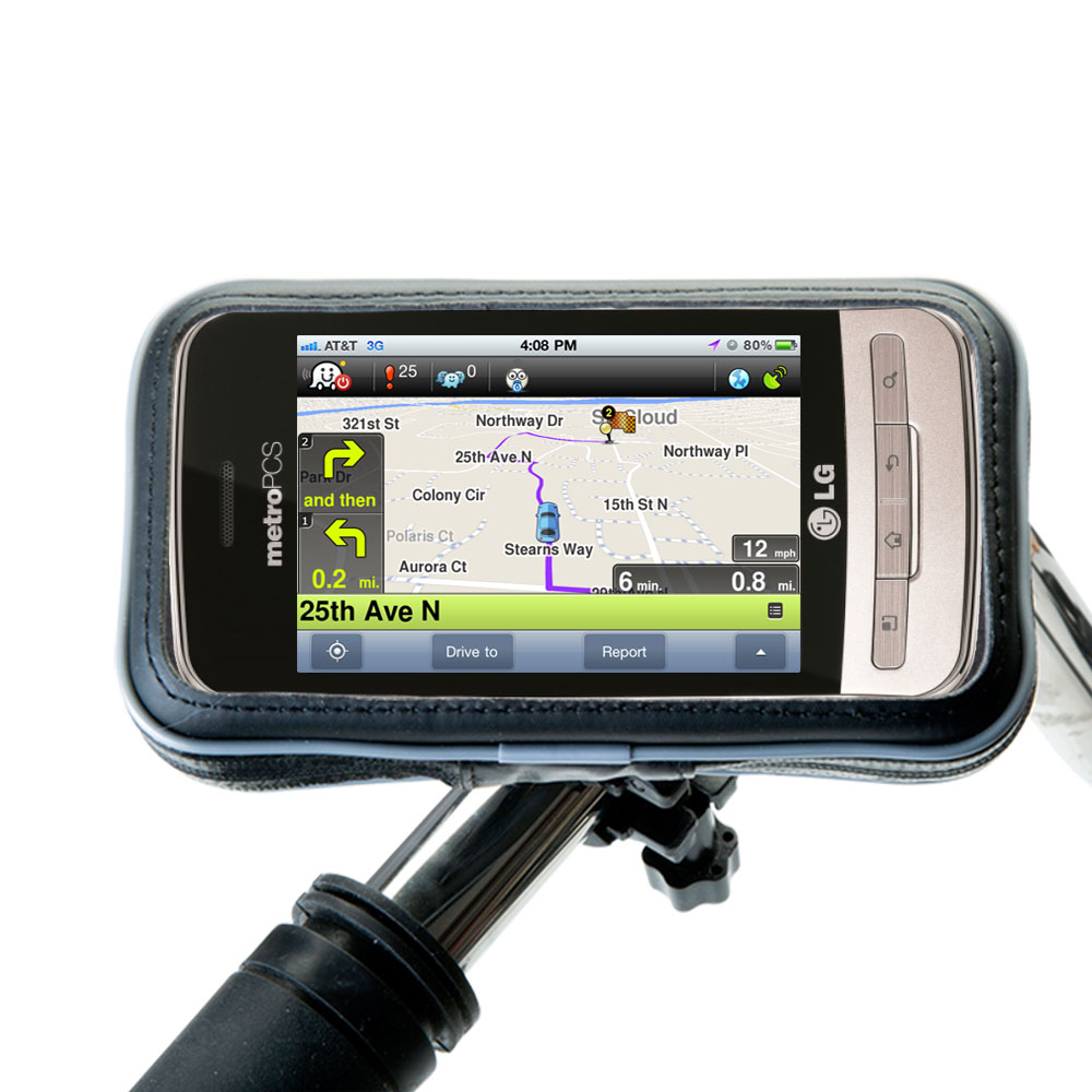 Weatherproof Handlebar Holder compatible with the LG MS690