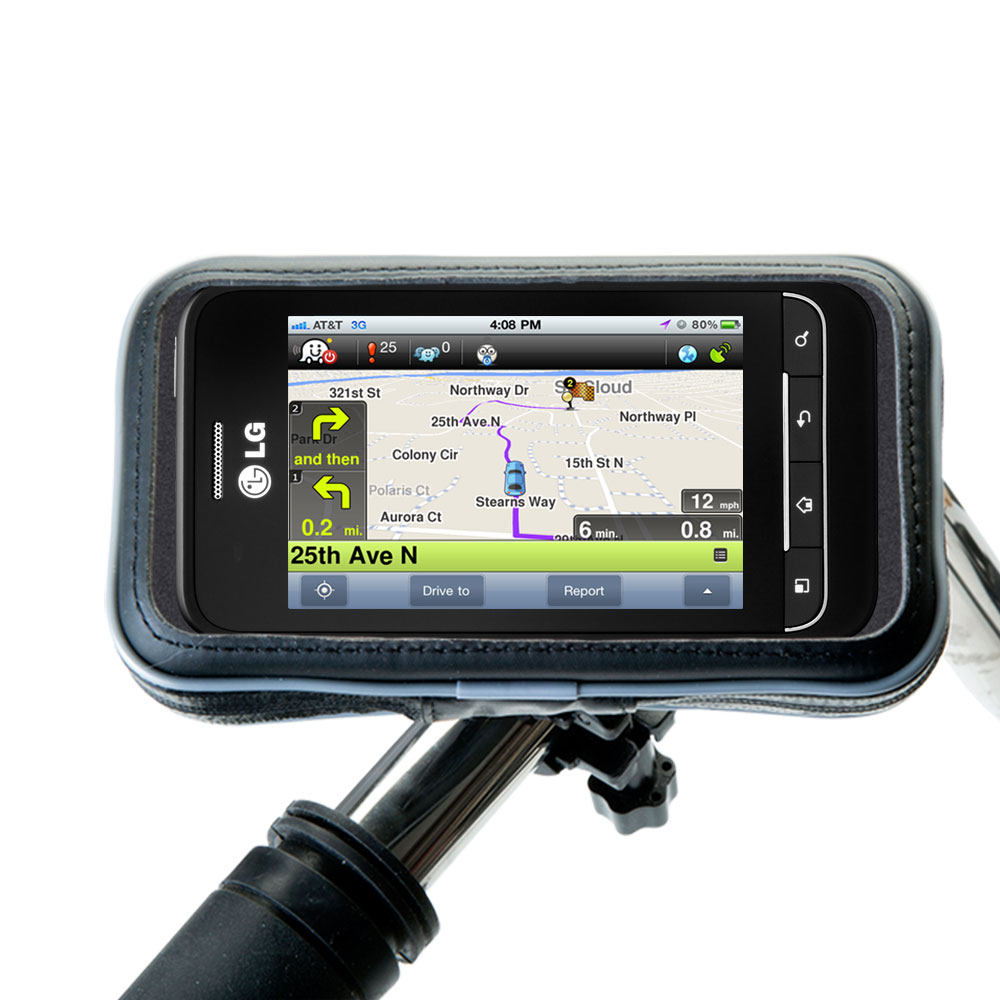 Weatherproof Handlebar Holder compatible with the LG Optimus 2