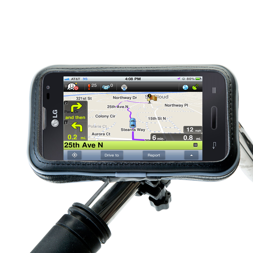 Weatherproof Handlebar Holder compatible with the LG Optimus L70