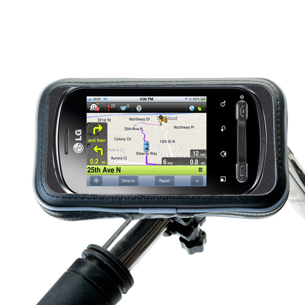 Weatherproof Handlebar Holder compatible with the LG Optimus Me P350