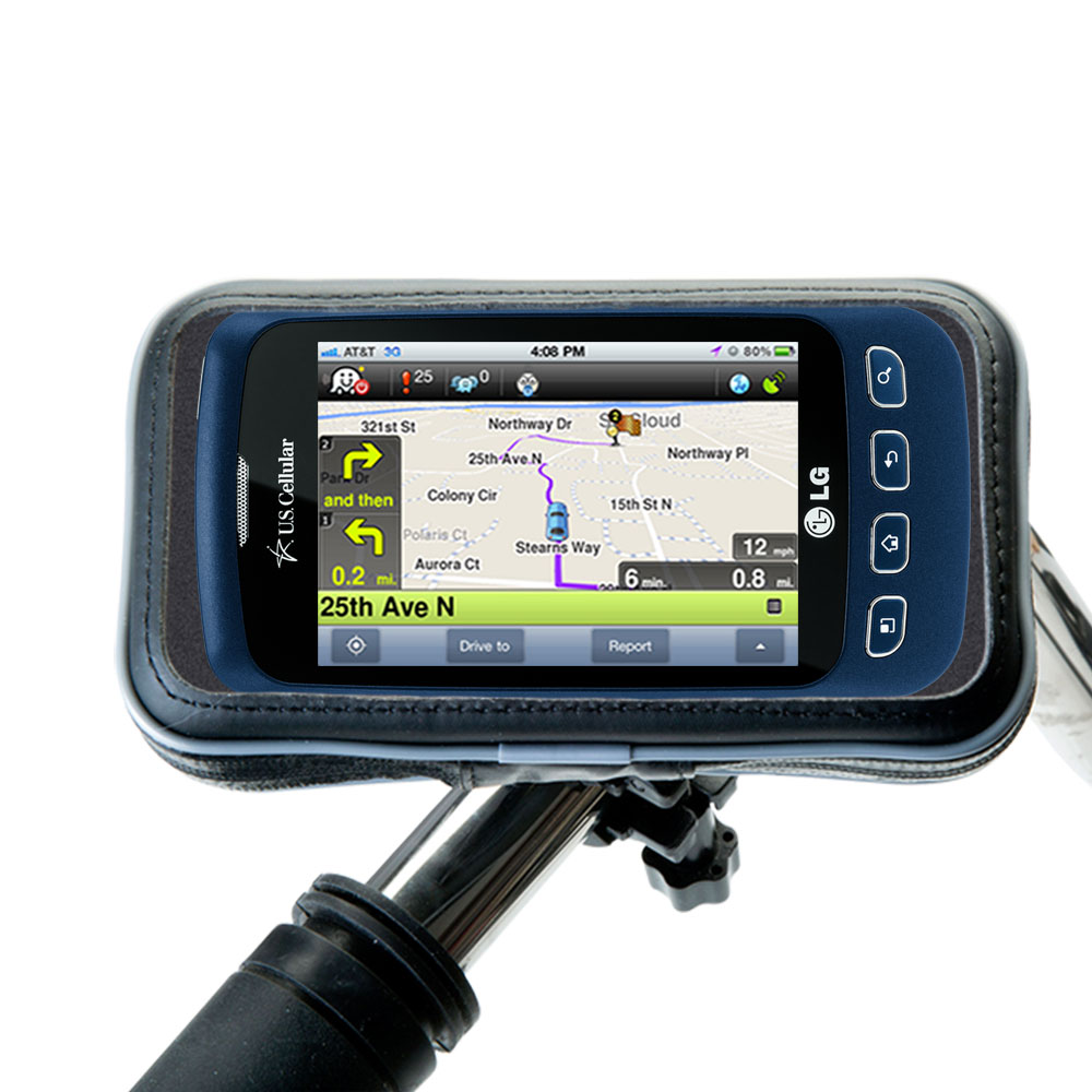 Weatherproof Handlebar Holder compatible with the LG Optimus S
