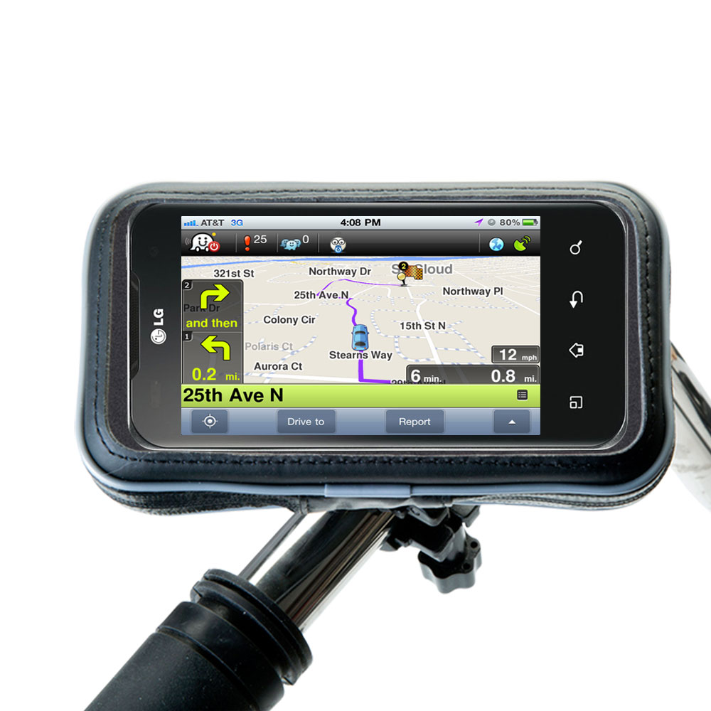 Weatherproof Handlebar Holder compatible with the LG Optimus Two