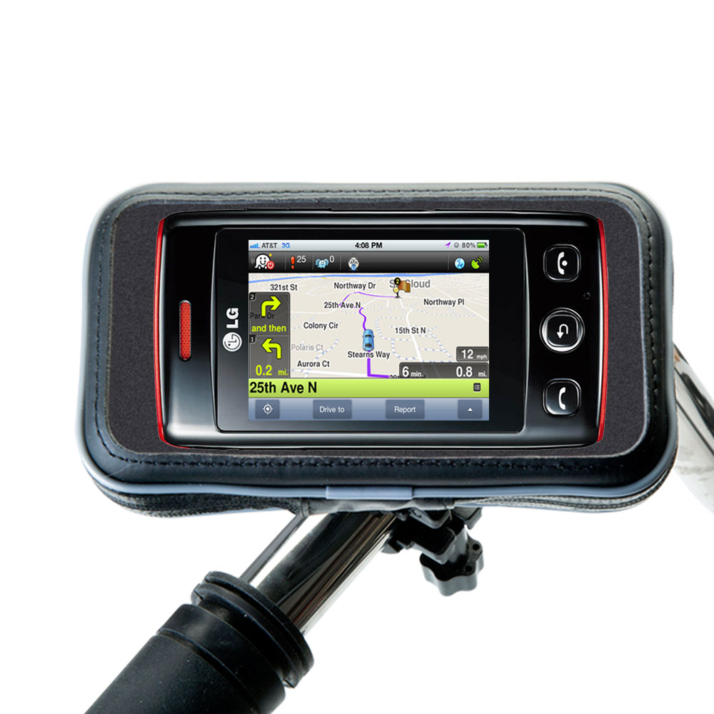 Weatherproof Handlebar Holder compatible with the LG Papaya