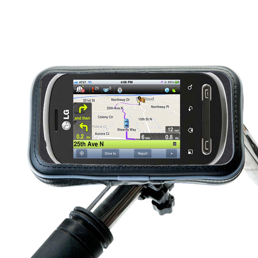 Weatherproof Handlebar Holder compatible with the LG Pecan