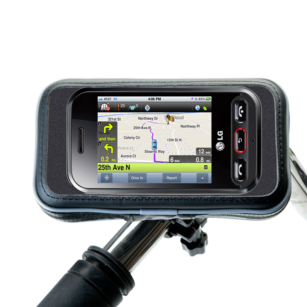 Weatherproof Handlebar Holder compatible with the LG T320