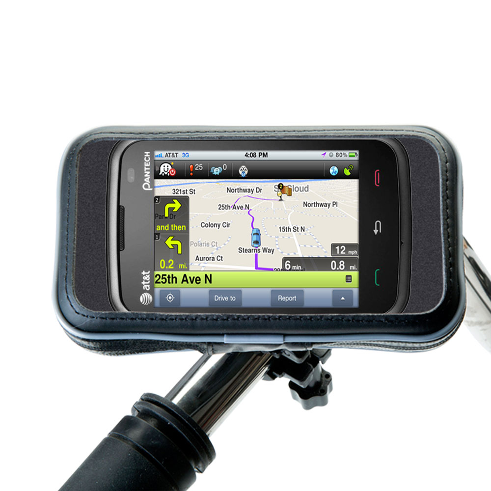 Weatherproof Handlebar Holder compatible with the Pantech Renue