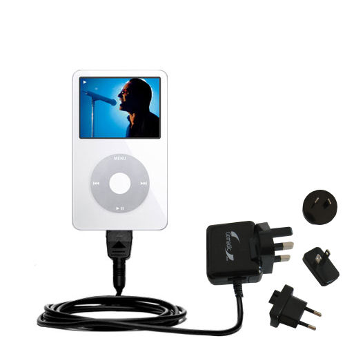International Wall Charger compatible with the Apple iPod 5G Video (60GB)
