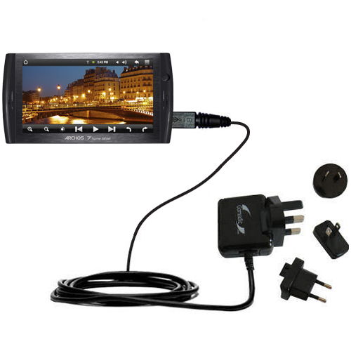 International Wall Charger compatible with the Archos 7 Home Tablet with Android