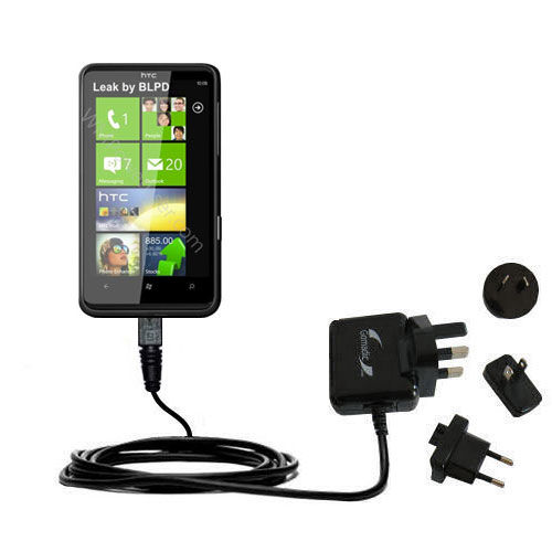 International Wall Charger compatible with the HTC HD7
