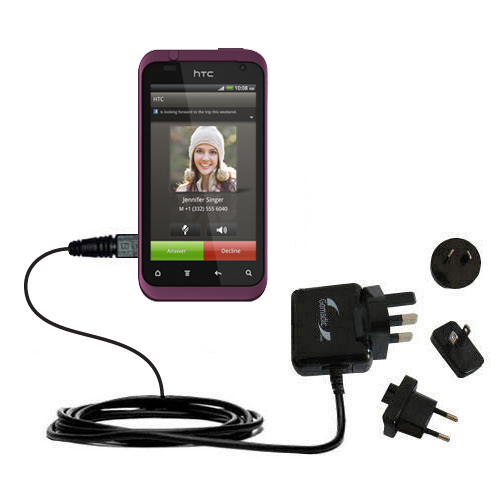 International Wall Charger compatible with the HTC Rhyme