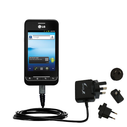 International Wall Charger compatible with the LG Optimus 2