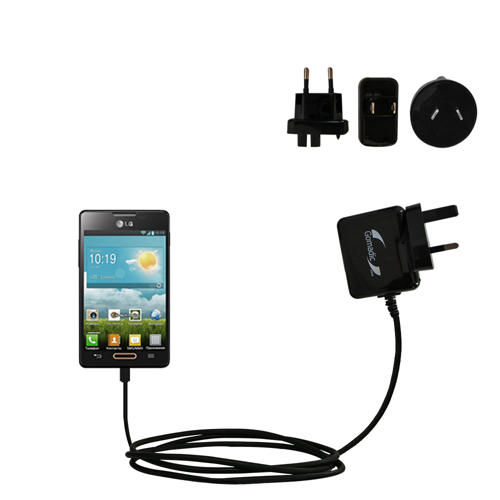 International Wall Charger compatible with the LG Optimus L4 II