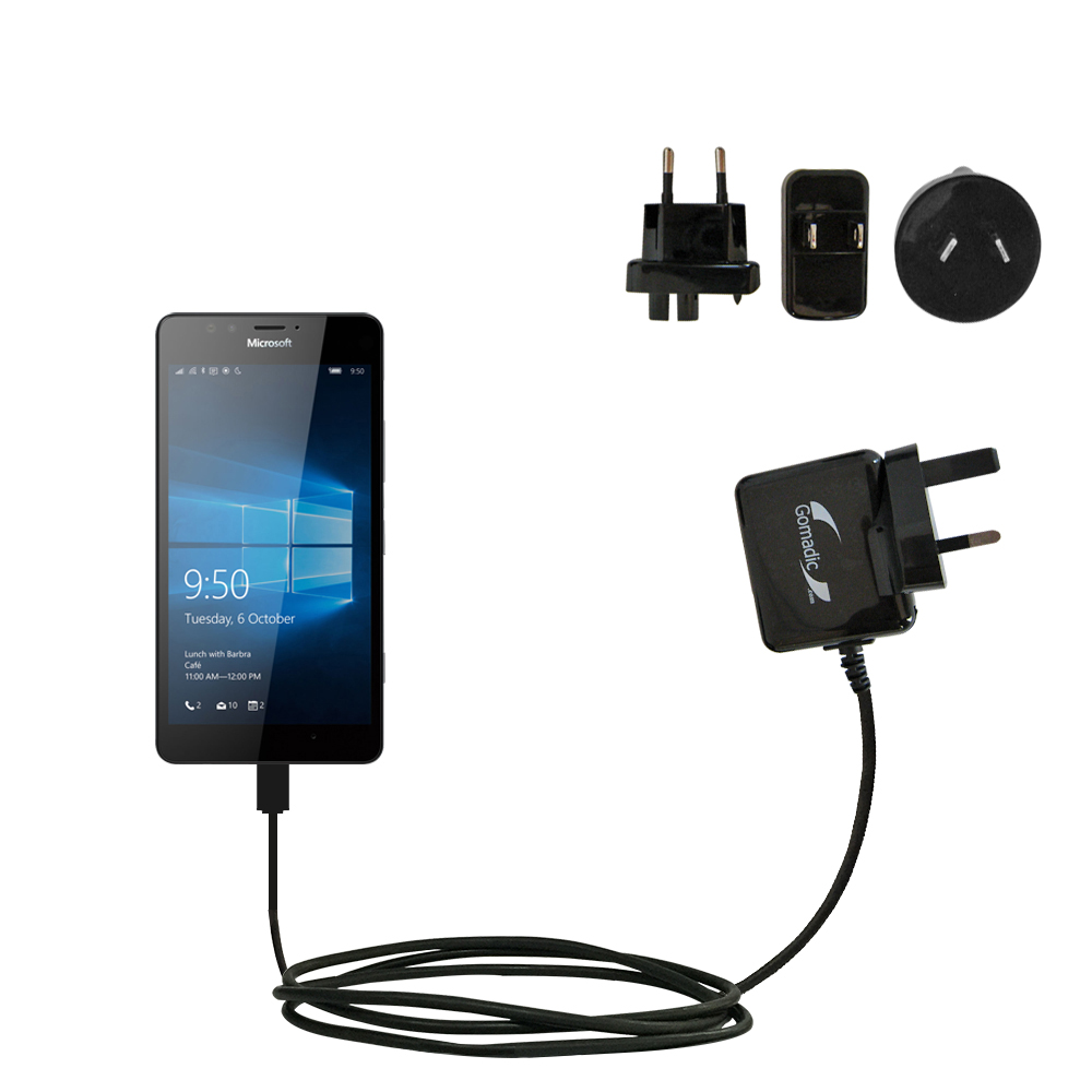 International Wall Charger compatible with the Microsoft Lumia 950