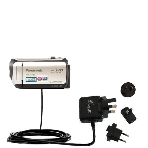 International Wall Charger compatible with the Panasonic HDC-SD80 Camcorder