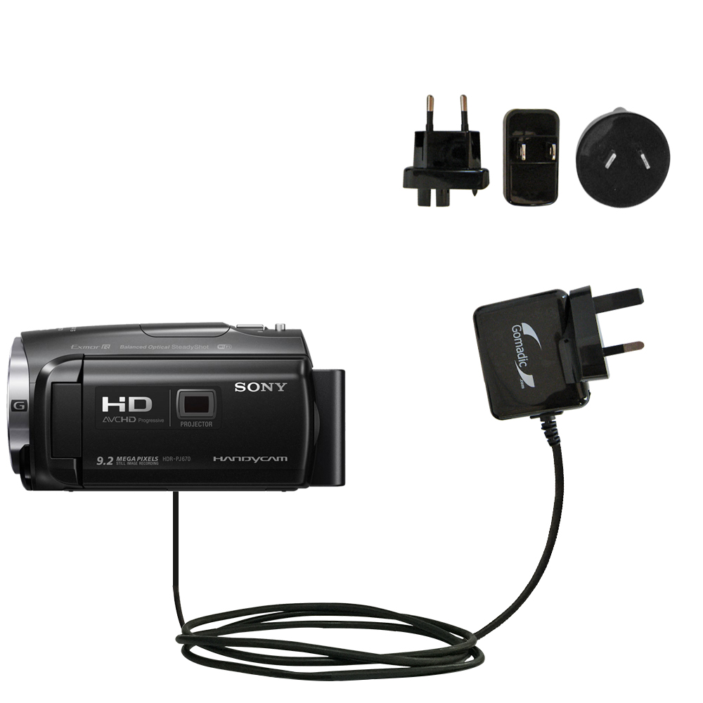The Essential Gomadic Car and Wall Accessory Kit designed for the Sony HDR-PJ670 PJ670-12v DC Car and AC Wall Charger Solutions with TipExchange