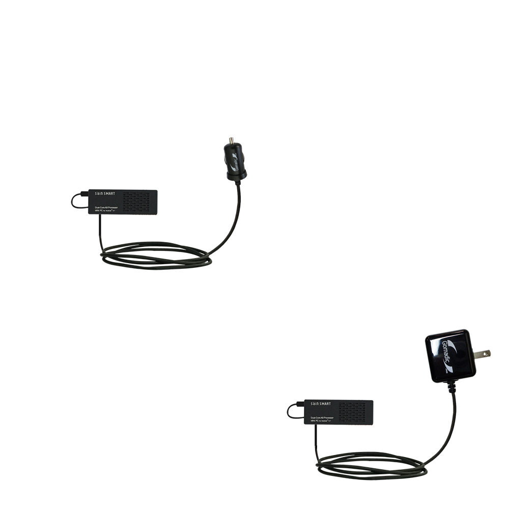 Car & Home Charger Kit compatible with the Android SainSmart SS808 PC-On-A-Stick