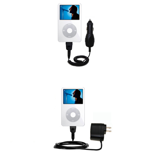 Car & Home Charger Kit compatible with the Apple iPod 5G Video (60GB)