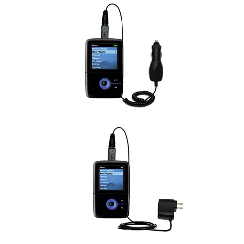Gomadic Car and Wall Charger Essential Kit suitable for the Creative Zen V Plus - Includes both AC Wall and DC Car Charging Options with TipExchange