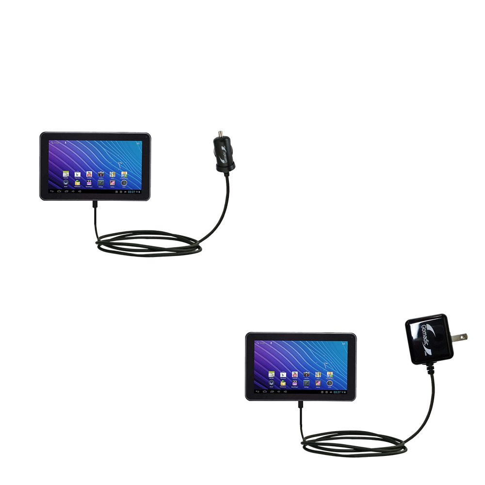 Car & Home Charger Kit compatible with the Double Power DOPO GS-918 9 inch tablet