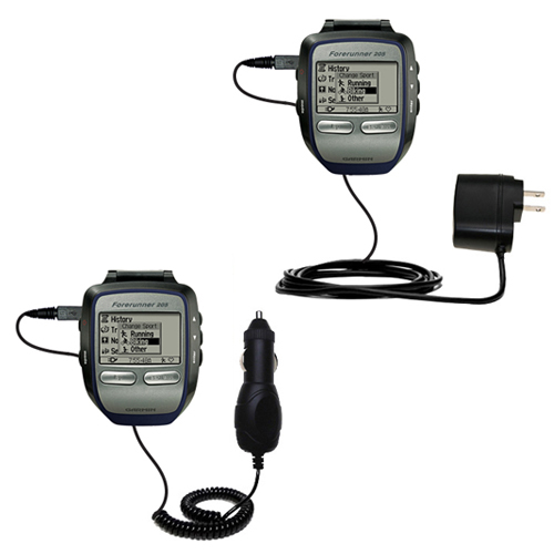 Car & Home Charger Kit compatible with the Garmin Forerunner 205