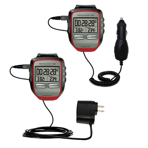 Car & Home Charger Kit compatible with the Garmin Forerunner 305